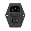 3 Pin IEC320 C14 Inlet Module Plug Fuse Switch Male Power Socket 10A 220V