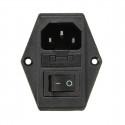 Enchufe de Corriente Entrada Macho con Interruptor 220V 3 Pin IEC320 C14
